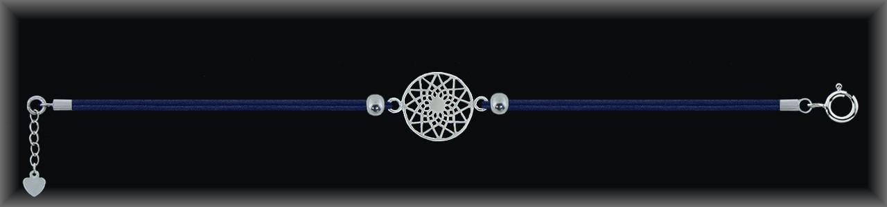 """Pulseras plata lisa """"mandala 14mm.Ø""""cordón seda azul."""