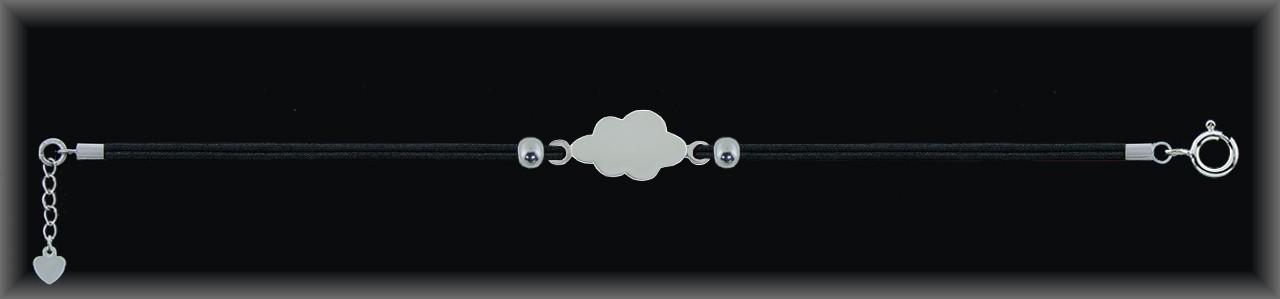 "Pulseras plata lisa ""nube 22mm."" doble cordón seda negra."