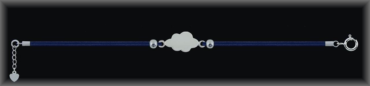 "Pulseras plata lisa ""nube 22mm."" doble cordón seda azul."
