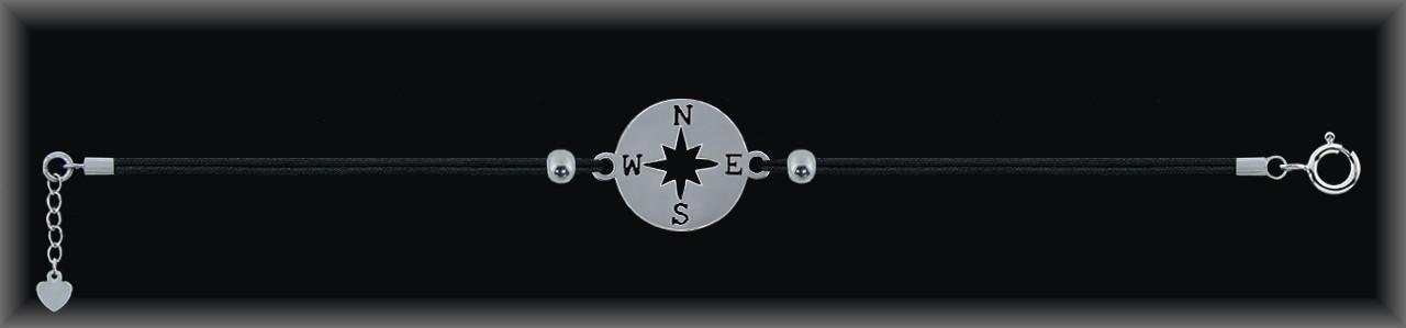 "Pulseras plata rodio  ""brújula"" 14mm.Ø""cordón seda negra."