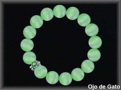 Pulsera elástica bol.ojo gato verde 12 mm/entrep plata rodio flores esmalte.