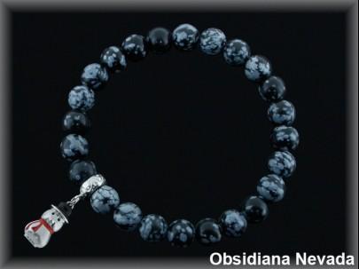 Pulsera elástica bola 8mm. obsidiana nev /entrep plata /fetiche