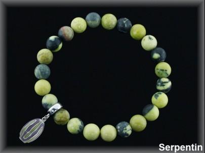 Pulsera elástica bol.8 mm serpentin verde/entrep plata /fetiche