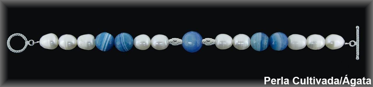 Pulsera perlas  cultivada    s blancas/ag.azul c.pasador