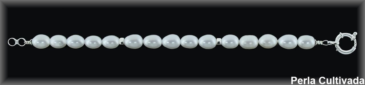 Pulseras perla  cultivada     blanca cl. entrep.plata reasa marinera