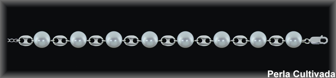 Pulseras plata  rodio eslab. calabrote perlas  cultivada    s