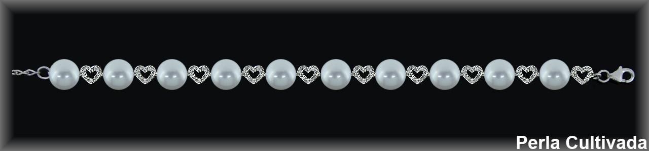 Pulseras plata rodio  perlas  cultivada     y circonitas
