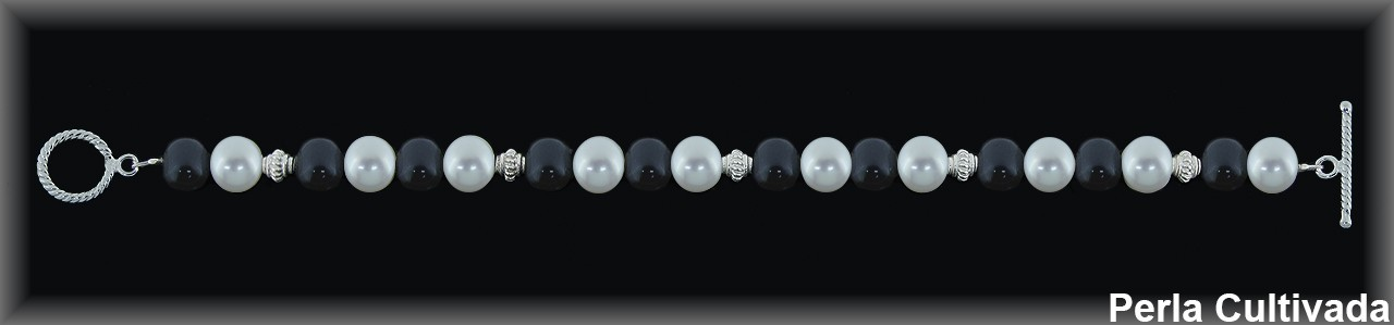 Pulsera perlas cultivadas blancas/grises - cierre aro+palo-.