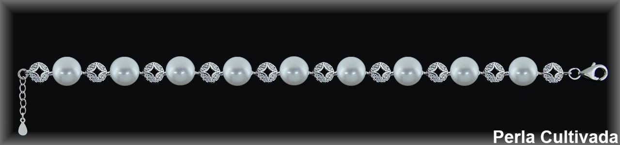 Pulseras plata rodio perlas  cultivada    s/circonita