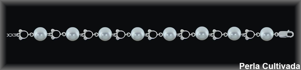 Pulseras plata  rodio eslab. silueta  perlas  cultivada    s