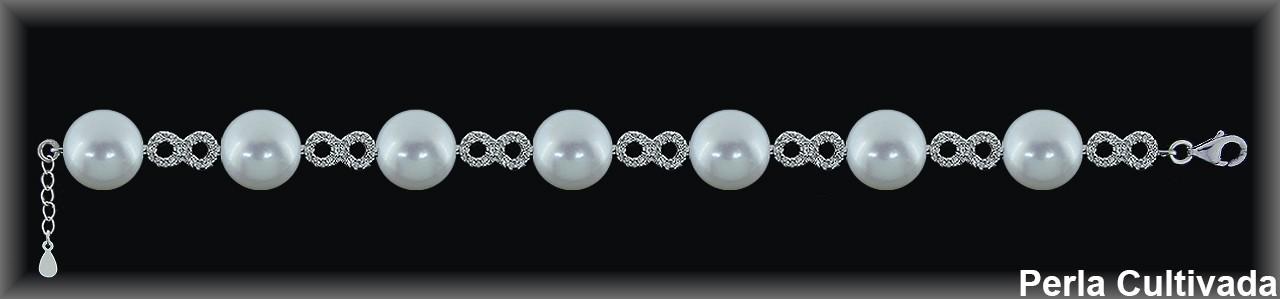 Pulseras plata rodio perlas  cultivada    s/zircon.
