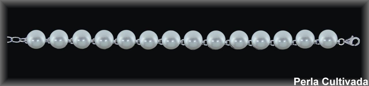 Pulseras plata rodio perlas  cultivada    s blanca