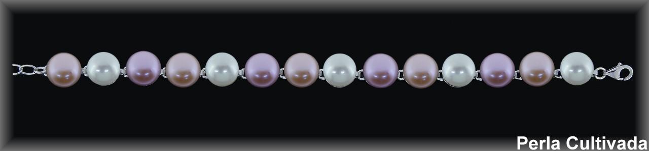 Pulseras plata rodio perlas  cultivada    s color