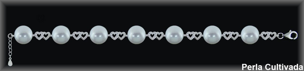 Pulseras plata rodio perlas  cultivada    s , corazones/zircon.