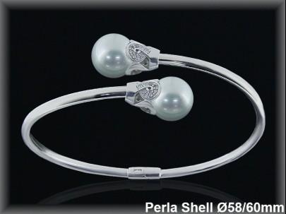 Pulseras plata rodio rigidas centro 2 perlas shell 10 mm