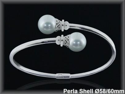 Pulseras plata rodio rigidas centro 2 perlas shell  blancas10 mm