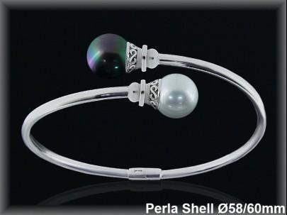 Pulseras plata rodio rigidas centro 2 perlas shell  bicolor10 mm