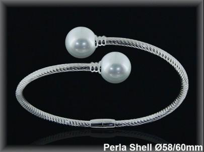 Pulseras plata rodio rigidas centro 2 perlas shell blancas cruz s10 mm