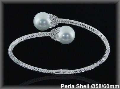 Pulseras plata rodio rigidas 2  perlas shell blanca cruz s 12 mm- cazol.circonita -