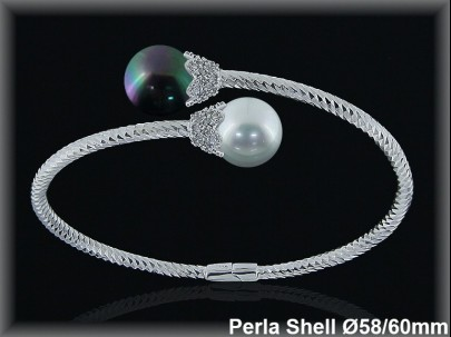 Pulseras plata rodio rigidas 2  perlas shell blanca /griscruz s 12 mm-cazol.circonita -