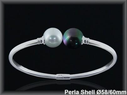 Pulseras plata rodio rigidas centro 2 perlas shell blanca /gris 10 mm