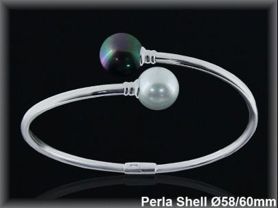 Pulseras plata rodio rigidas centro 2 perlas shell blanca/gris cruz s10 mm