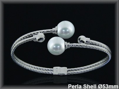 Pulseras plata rodio rigidas centro 2 perlas shell blanca10mm.