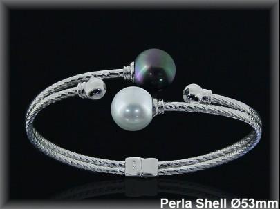 Pulseras plata rodio rigidas centro 2 perlas shell bl/gris10mm.