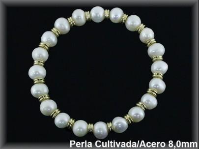 Pulseras elast. perlas  cultivada    s redonda 7-8 mm entrep.acero chapado oro