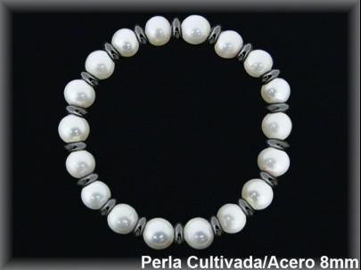 Pulseras elast. perlas  cultivada    s redonda 7-8 mm entrep.acero grafito