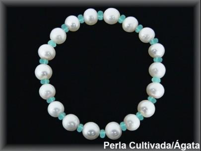 Pulsera perlas cultivadas extr. 7/8 mm-rondel facet. ágata  turquesa