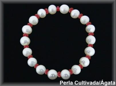 Pulsera perlas cultivadas extr. 7/8 mm-rondel facet. ágata roja.