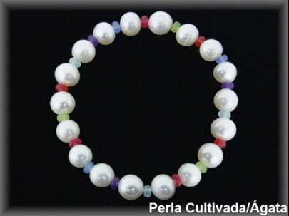 Pulsera perlas cultivadas extr. 7/8 mm-rondel facet. ágata colores.
