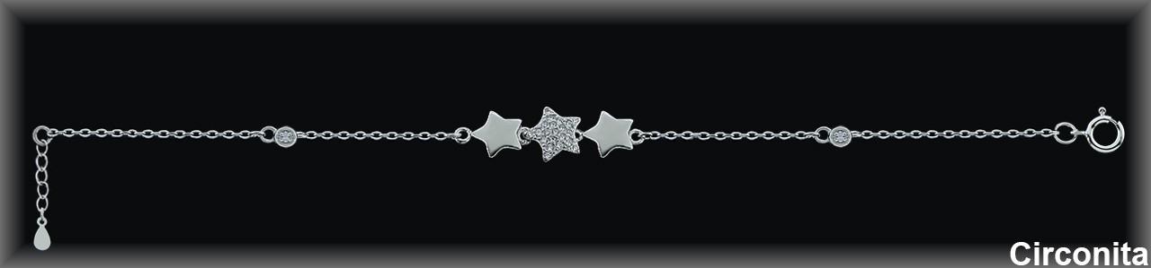 """Pulseras plata rodio  centro """"trío estrellas"""",circonitablanca"""
