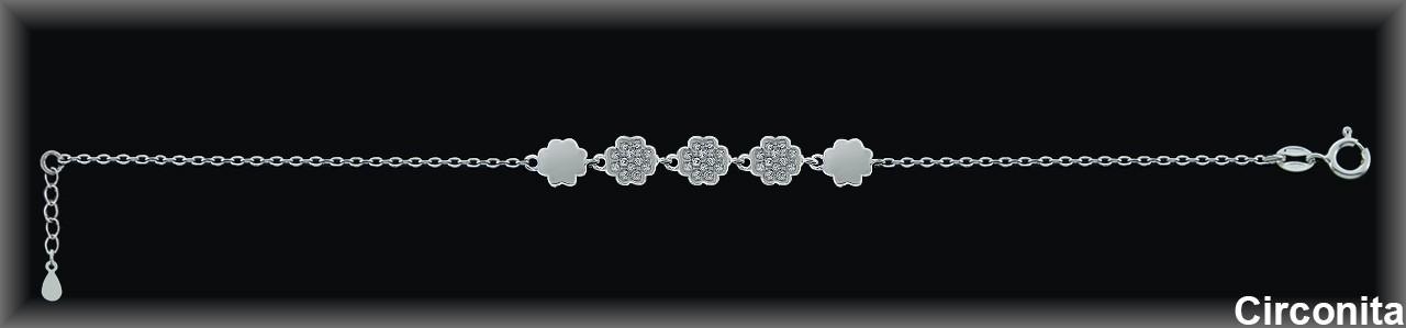 Pulseras plata rodio  cadena- centro  circonitas blanca -.