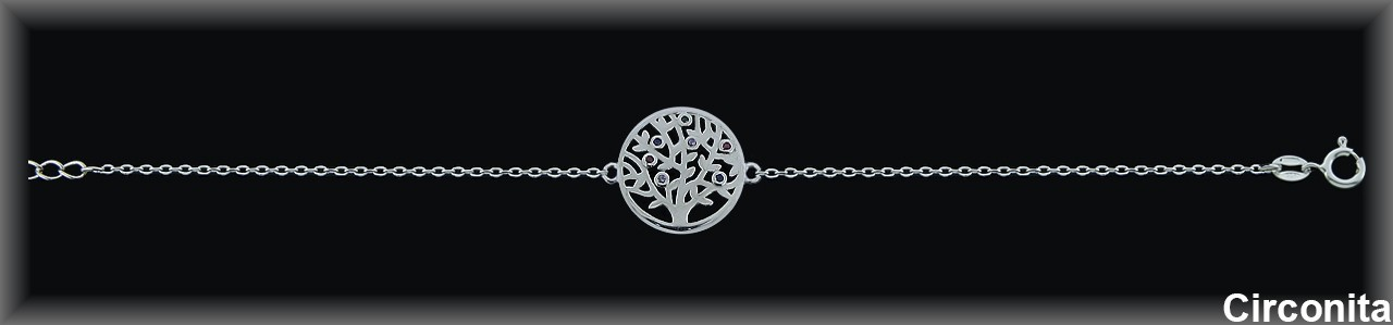 """Pulseras plata rodio caden.""""árbol de la vida""""15m.Øcirc.color"""