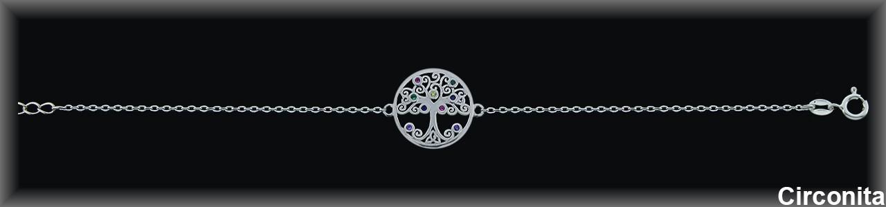 """Pulseras plata rodio caden.""""árbol de la vida""""16m.Øcirc.color"""