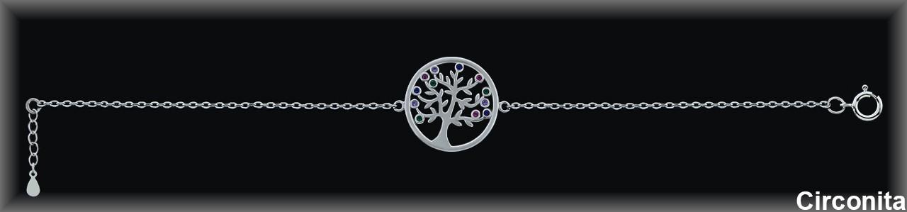 """Pulseras plata rodio caden.""""árbol de la vida""""19m.Øcirc.color"""