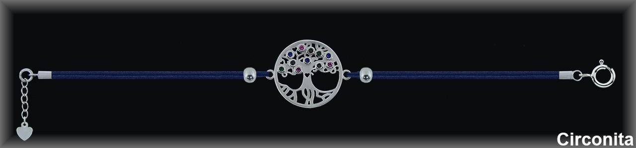 "Pulseras plata rodio  ""árbol /circ.color"" 17mm.Ø""cordón seda azul.."