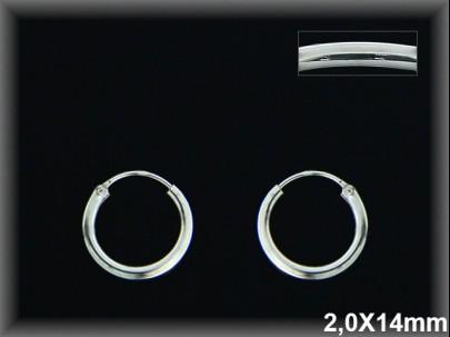Aros plata  14x2.0 mm