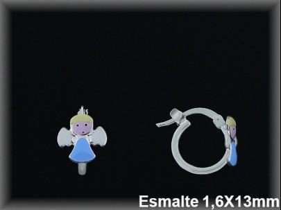 """Aros plata esmalte """"angelito azul"""" cierre horquilla 1.6x13 mm"""