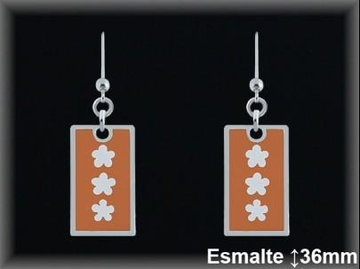 Pendientes plata plaquita esmalte naranja, tres flores