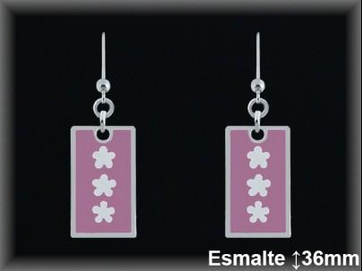 Pendientes plata plaquita esmalte rosa, tres flores