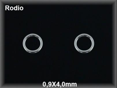 Anilla plata  rodio soldada  0.9 x 4 mm