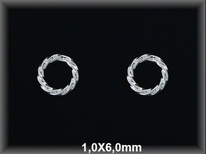 Anilla plata  soldada rizada 1x6 mm