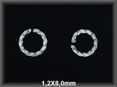 Anilla plata  abierta  riz 1.2 x 8 mm