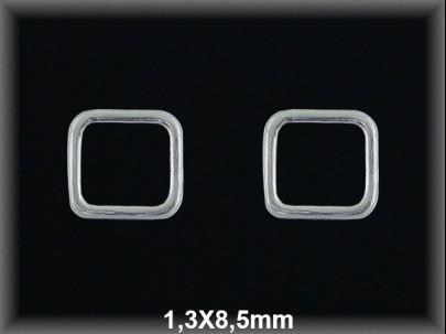 Anilla plata  soldada cuadrada 1.3x8.5mm