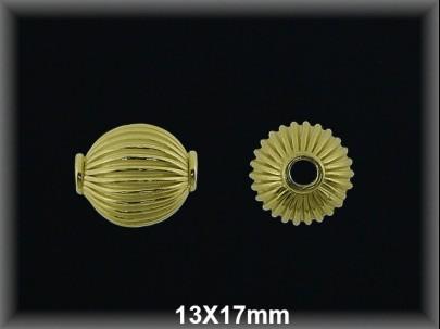 Bola plata  chapado   oro rayada   13x17mm