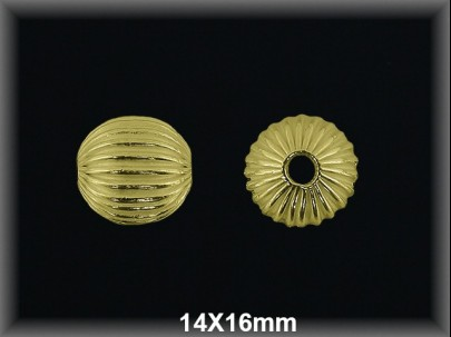 Bola plata  chapado   oro rayada   14x16mm
