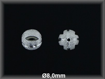 Bola plata  lisa chispeada 8 mm